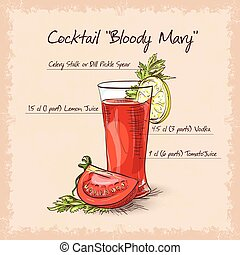 Bloody Mary cocktail, low-alcohol drink with cayenne pepper...