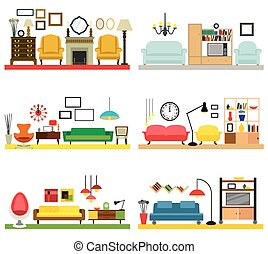 Furniture ideas for living room - Cartoon living rooms with...