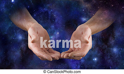 Cosmic Karma is in Your Hands - Male hands emerging from a...