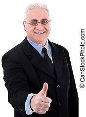 Successful business man shows ok sign on isolated background