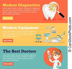 Stomatology horizontal banner set. Vector flat illustration