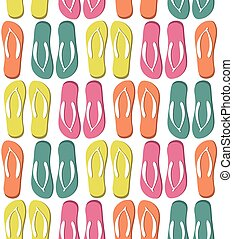 pattern with colorful flip flops - Seamless pattern with...