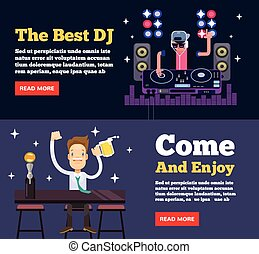 Night club party. Vector flat illustration