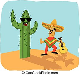 Mexican musician and cactus