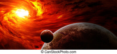 Red nebula in space with planet Earth - Red black hole...