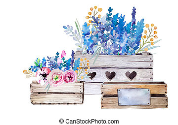 Watercolor flowers wooden box.Hand-drawn vintage...