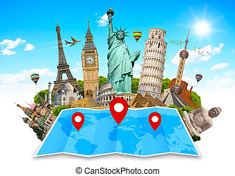 Monument of the world on a map - Famous monuments of the...