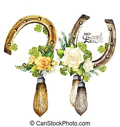 Horseshoes, rabbit foots, roses and clover - Vintage...