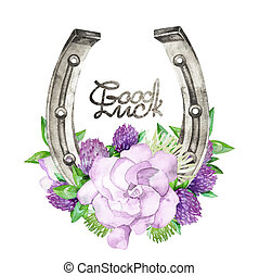 Watercolor horseshoes with violet floral design - Watercolor...