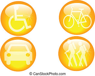 mobility icons - a set of four personal transport and...
