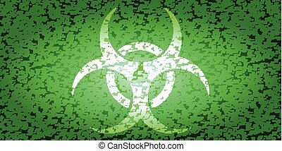 White Bio hazard - BioHazard sign green and white noise