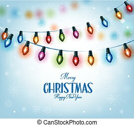 Colorful Christmas Lights - Merry Christmas Greetings in...