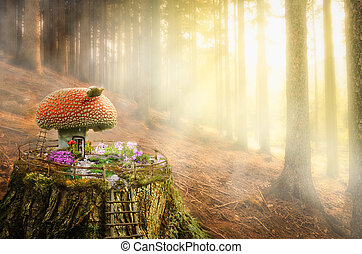 fairy house (Mushroom) - (illustration of a fictional...