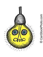 doodle comic bulb, vector