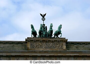 Brandenburg Gate in Berlin - The statue of Quadriga on top...