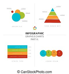 Set of vector flat design infographic charts and graphs 3