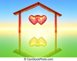 Two hearts - two hearts inside a home shape
