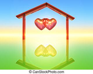 Two hearts - two hearts inside a home shape