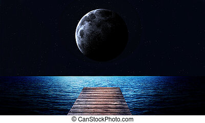 Rising moon over sea. Elements of this image furnished by...