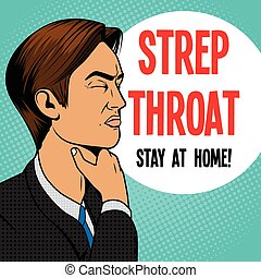 Man with sore throat pop art retro vector - Man with hard...