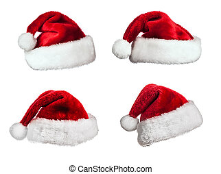 Santa hats on white