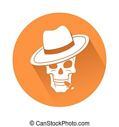 Skull with hat - This is an illustration of a skull with hat