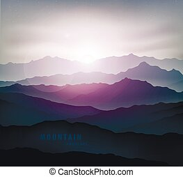 dark blue mountain landscape with fog and a sunrise and...