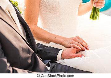 Wedding couple holding hands - Beautiful Wedding couple...