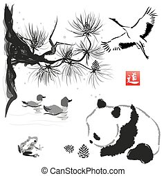 Card with cedar in the bird and panda bear. Hand-drawn with...