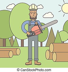 Lumber-man - An african-american lumber-man with a chainsaw...