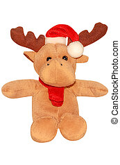Santa deer - Christmas Series. Holiday deer in red hat
