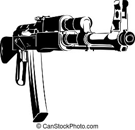 Vector illustration black and white machine gun ak 47...