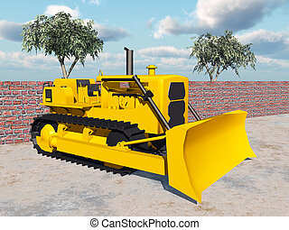 Bulldozer - Computer generated 3D illustration with a...