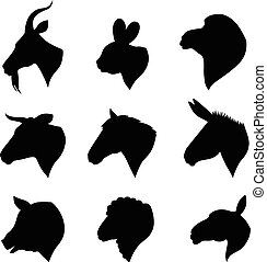 Farm animals heads set