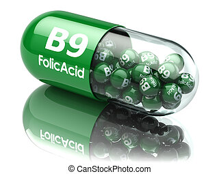 Pills with b9 folic acid element. Dietary supplements....