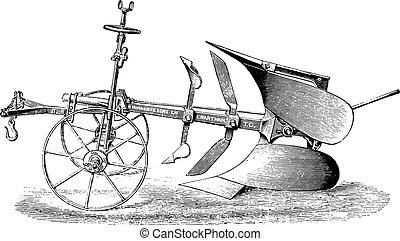 Plow double by R Hornsby, vintage engraving - Plow double by...