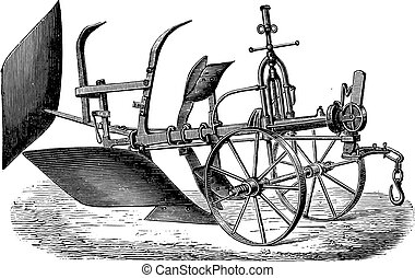 Double plough subsoiler of Bajac-Delahaye, vintage engraving...