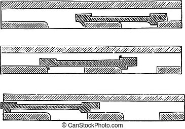 Straight slide with the train is in the three positions of the function device, vintage engraving.