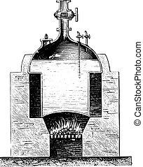 Boiler Newcomen, vintage engraving.