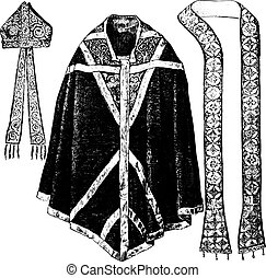 Chasuble, stole and miter of Thomas Becket, vintage...