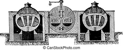Galloway boiler cross section, vintage engraving.
