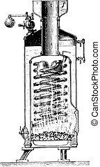 Roser boiler, vintage engraving.