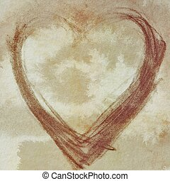 heart on grunge old paper backgroun