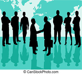Business Team vector silhouette illustration