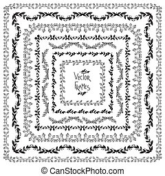 Set of vector decorative elements. Square frames with hand drawn ornament