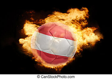 football ball with the flag of austria on fire - football...