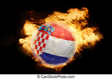 football ball with the flag of croatia on fire - football...