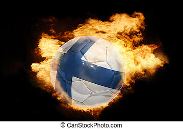football ball with the flag of finland on fire - football...