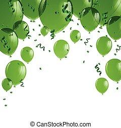 Vector Green Balloons - Vector Illustration of Green...
