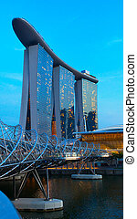 Helix bridge and famouse hotel in Singapore